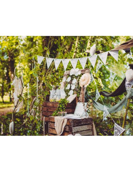 3 Guirlande Fanion Amour Eucalyptus 2m