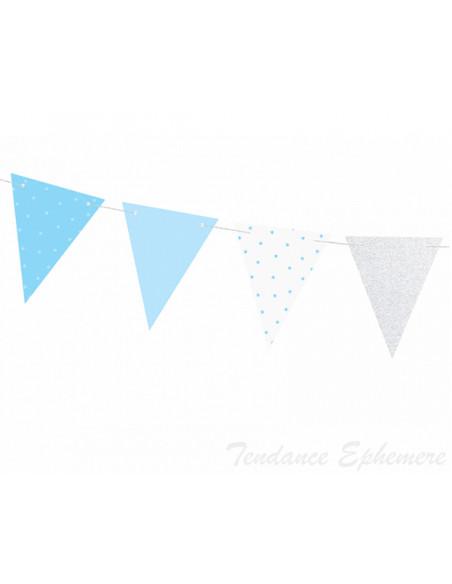 2 Guirlande Fanions Bleu et Argent 1,35m