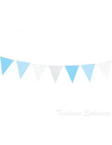 3 Guirlande Fanions Bleu et Argent 1,35m