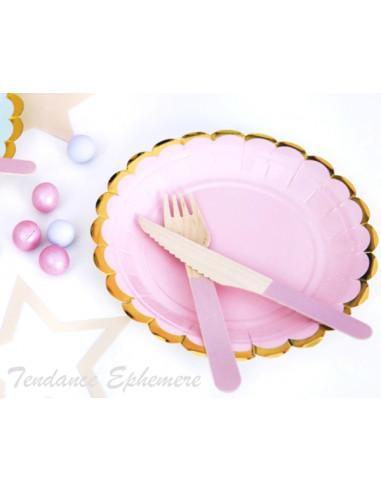 1 Assiette Carton Rose Pastel Feston Or 18cm