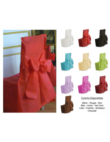 1 Housse de Chaise Mariage Avec Noeud - 6 Coloris