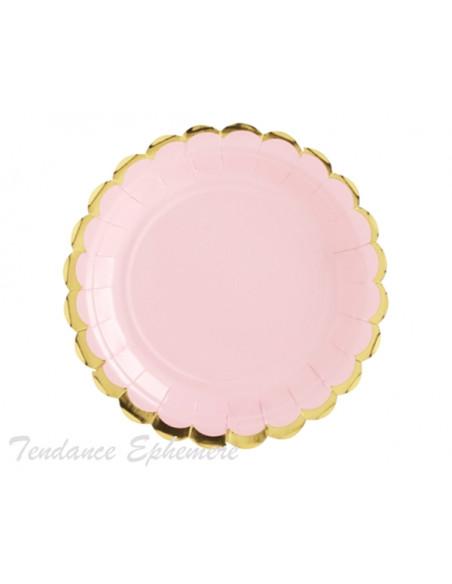 3 Assiette Carton Rose Pastel Feston Or 18cm