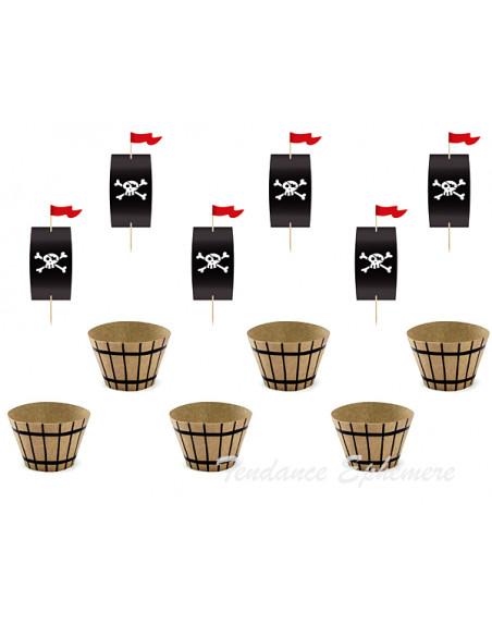 3 Kit Déco Cupcake Pirate