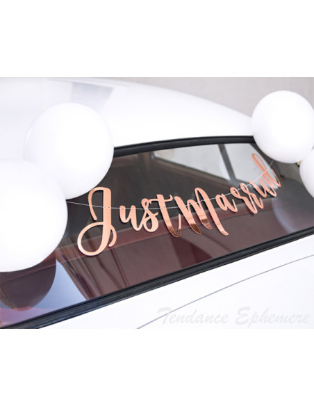 2 Kit Déco Voiture Mariage Just Married Rose Gold