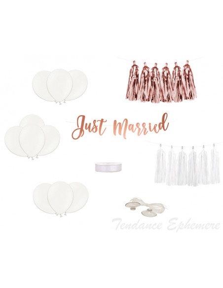 3 Kit Déco Voiture Mariage Just Married Rose Gold