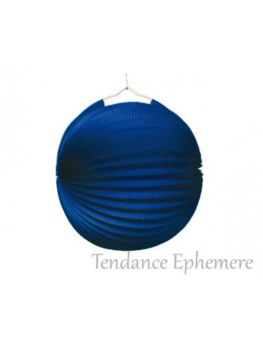 1 Lampion Rond Bleu Ignifugé 25cm