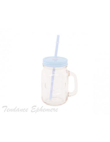 1 Mini Mason Jar Couvercle Bleu + Paille