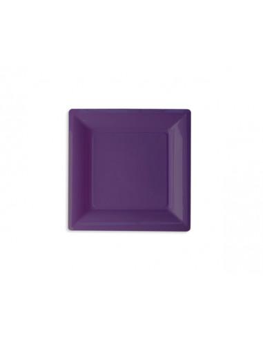 1 Assiette Plastique Carrée Violet 16,5cm