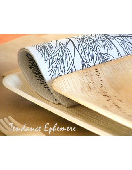 3 Assiette Biodégradable Palmier Carrée Design 24cm