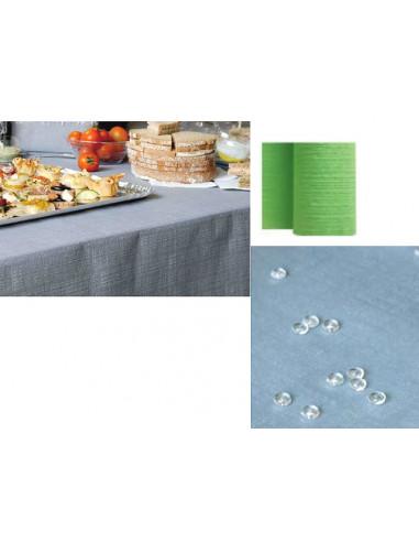 1 Nappe Papier Toile de Lin Vert Anis 5m