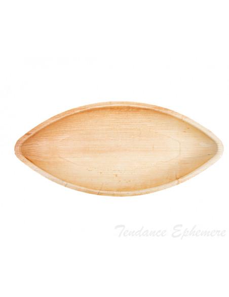 3 Plat Biodégradable Palmier Pirogue 30cm - Unité