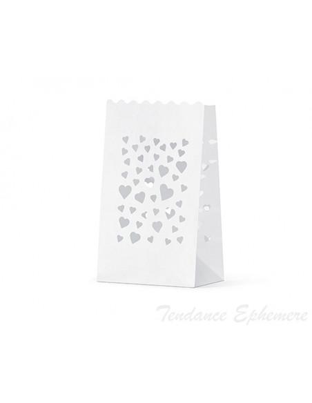 2 Photophore Papier Blanc Mini C?ur 19cm
