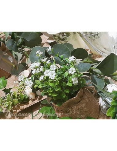 1 Pot Jute Fleurs Blanches 16cm