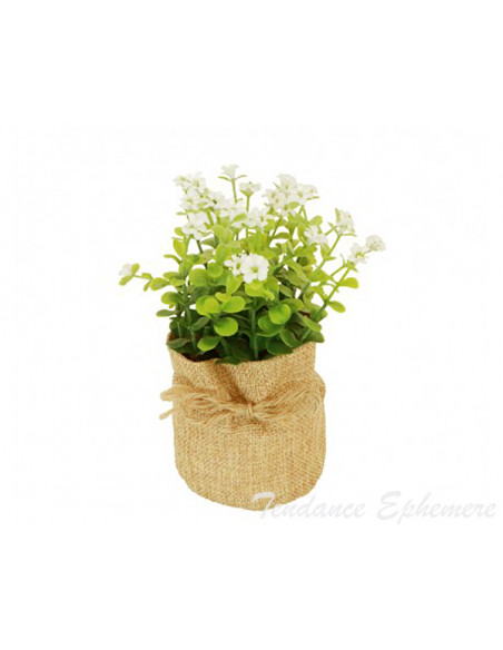 3 Pot Jute Fleurs Blanches 16cm