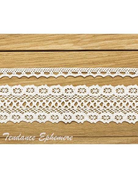 3 Ruban Dentelle Coton Blanc M4/2 - 3m