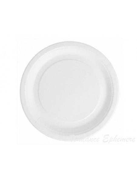 1 Assiette Carton Ronde Bio-Laquées Blanc 18cm