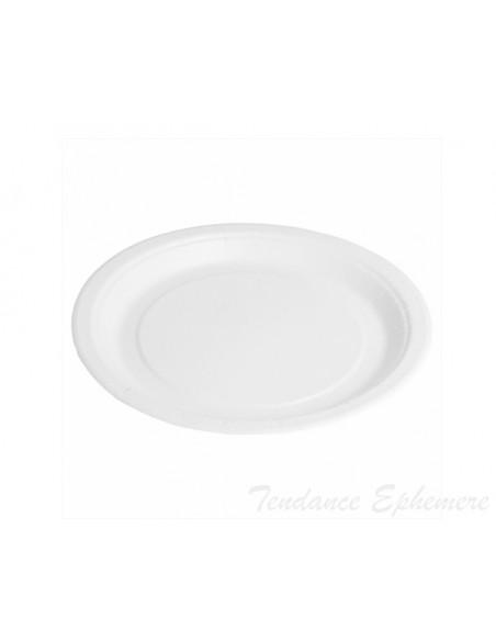 2 Assiette Carton Ronde Bio-Laquées Blanc 18cm
