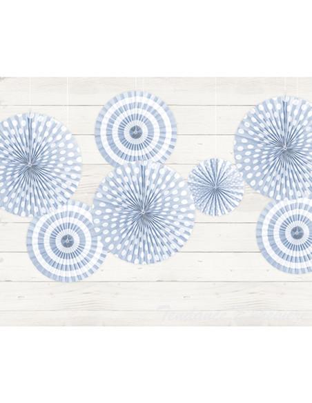 2 Rosace Papier Bleu Pastel - 3