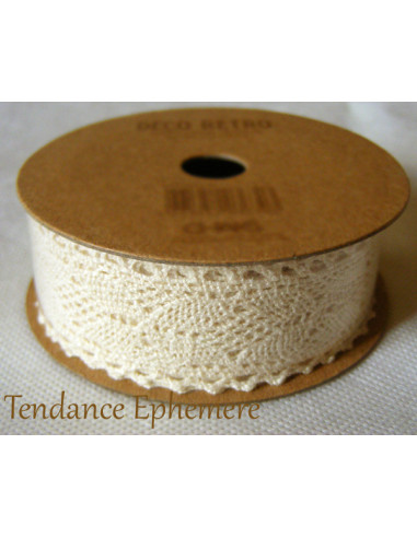 1 Ruban Coton Dentelle Ivoire 2,5cm