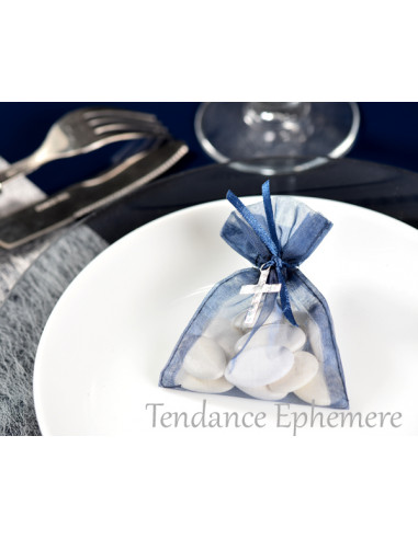 1 Sachet Dragées Organdi Bleu Marine 10cm