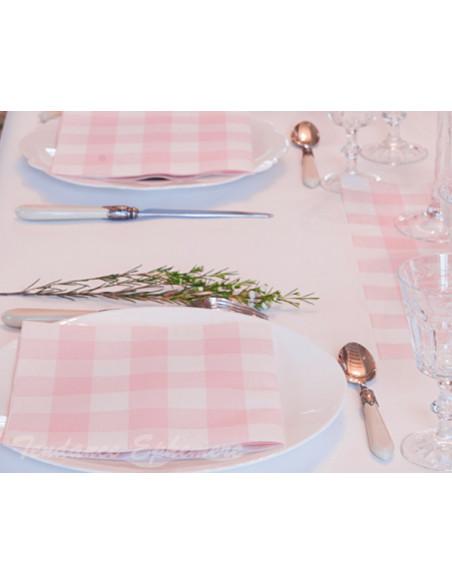 2 Serviette Cocktail Intissée Vichy Rose