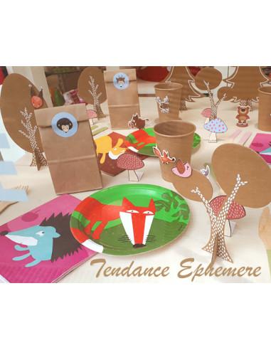 1 Set Décoration Kraft Animaux de la Forêt