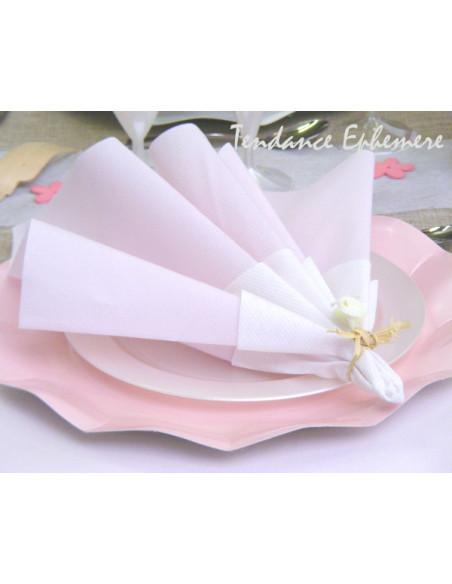 2 Serviette Intissée Rose Poudré 40cm - 50