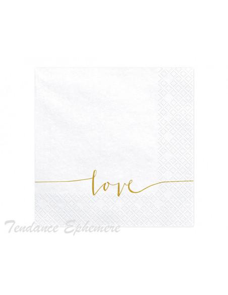 1 Serviette Papier Blanche Love or