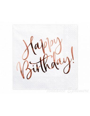 1 Serviette Papier Happy Birthday Rose Gold
