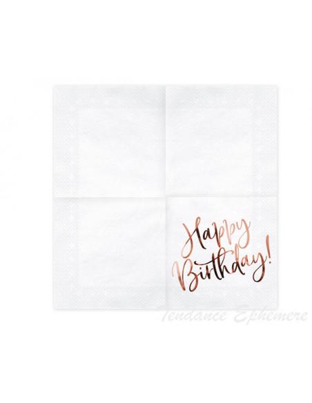 2 Serviette Papier Happy Birthday Rose Gold
