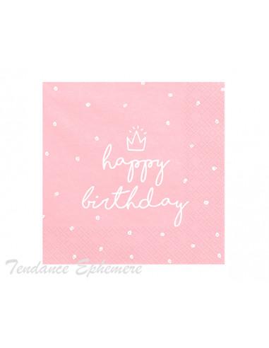 1 Serviette Papier Happy Birthday Rose