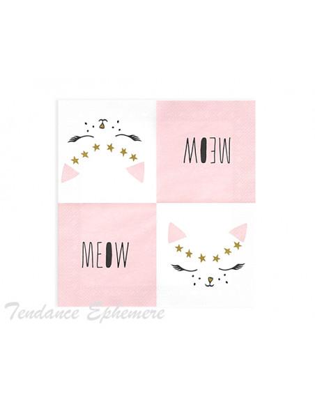 2 Serviette Papier Chaton Design