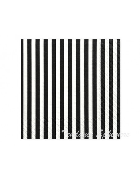 3 Serviettes Papier Rayure Blanc Noir 33cm