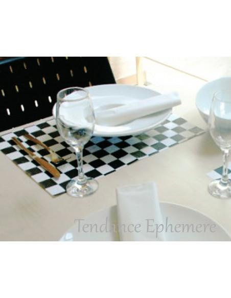 1 Set de Table Papier Damier Noir 31x43cm - 500