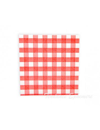 1 Serviette Effet Tissu Vichy Rouge 40cm