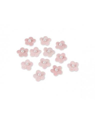 12 Fleurs Adhésives Velours Rose 2.2cm