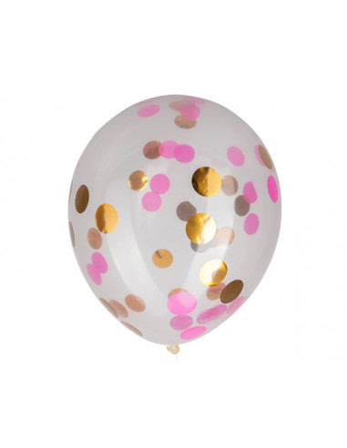 3 Ballons Transparents Confettis Or...