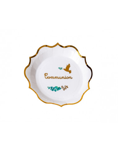 Assiette Carton Communion Végétal 23cm