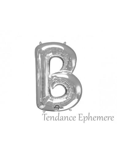1 Ballon Lettre Argent B Mylar 36cm