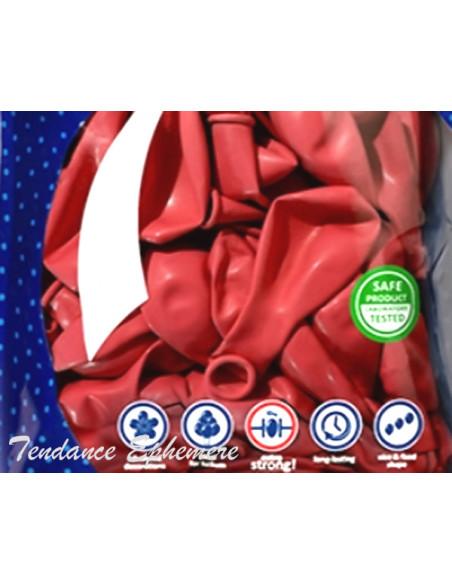 2 50 Ballons Métalliques Rouge 27cm