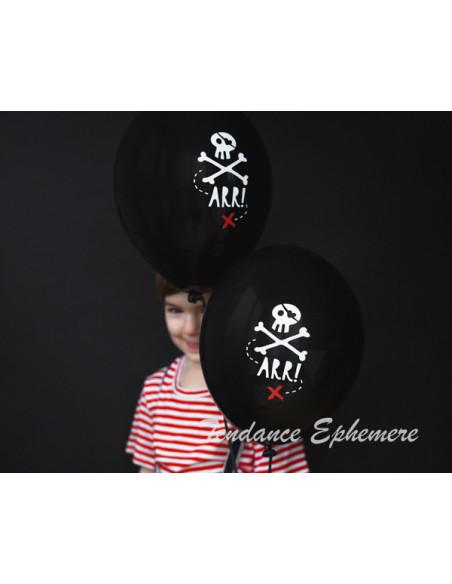 1 6 Ballons Pirates Noir 30cm