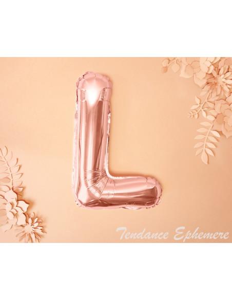 2 Ballon Lettre Aluminium L Rose Gold 35cm