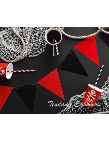 1 Banderole Fanions Rouge et Noir 1,3m