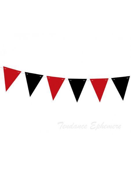3 Banderole Fanions Rouge et Noir 1,3m
