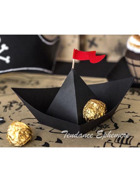 1 Bateau Papier Pirate Noir